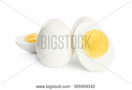 Fresh Hard Boiled Chicken Eggs Isolated On White