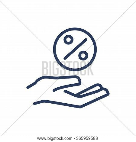 Hand Holding Percentage Thin Line Icon. Safety, Loan, Deposit Isolated Outline Sign. Bank Lending An