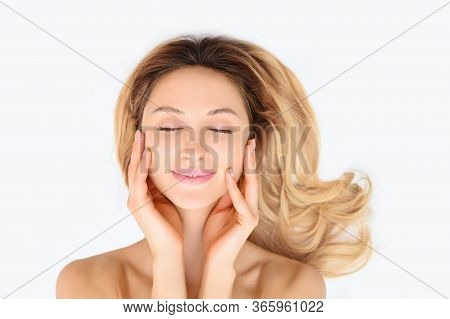 Beauty Skin Woman Healthy Skin Care Cosmetic Concept. Female Face Portrait. Spa Model Girl With Perf