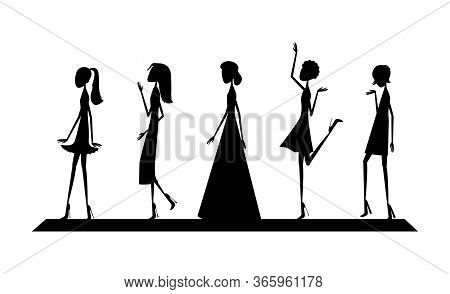 Black Silhouettes Of Models On The Catwalk In Dresses Of Different Styles. Vector