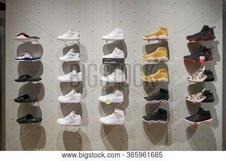 SHENZHEN, CHINA - CIRCA APRIL, 2019: footwears on display at Nike store at UpperHills in Shenzhen.