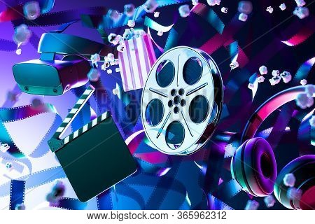 Popcorn, Film Reel, Movie Clapper, Virtual Reality Helmet Or Vr Goggles And Headphones On Film Tape