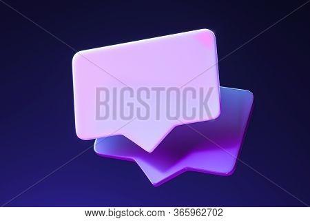 Blank Message Notification. Violet Speech Bubble. Social Media Concept And Online Communication. 3d