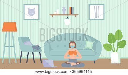 Young Beautiful Girl In Face Mask Sitting In Yoga Lotus Position In Apartment. Health, Mental And Bo
