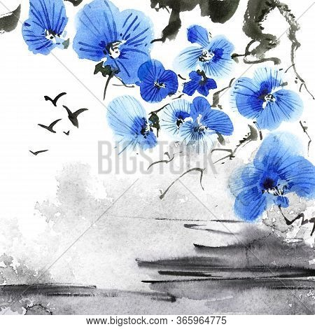 Watercolor And Ink Illustration Of Blossom Sakura Tree And Flying Birds In Style Sumi-e, U-sin. Orie