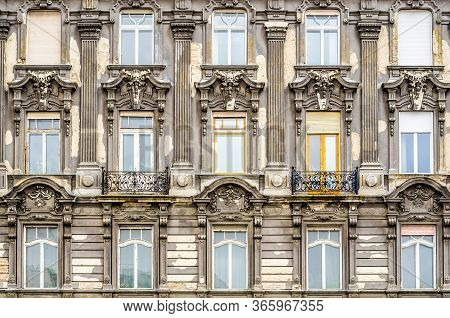 Windows On The Facade In Neo-baroque Style. Budapest, Hungary