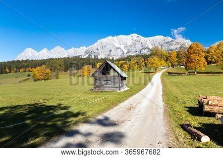 autumn view of Dachstein massif in Austria