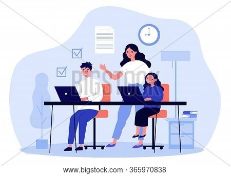 Female Teacher Explaining Lesson To Students. Boy And Girl Learning With Tutor Flat Vector Illustrat