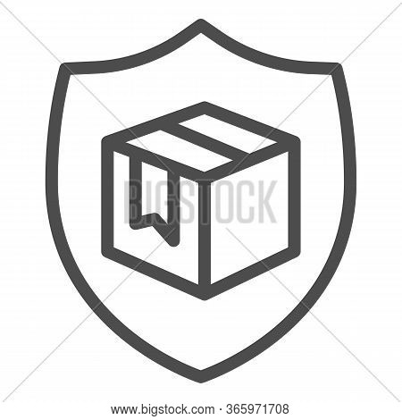 Box With Security Shield Line Icon, Delivery And Logistics Symbol, Guaranteed Parcel Delivery Vector