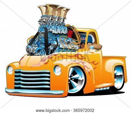 American Classic Hot Rod Pickup Truck Cartoon Isolated Vector Illustration With Huge Chrome Engine,