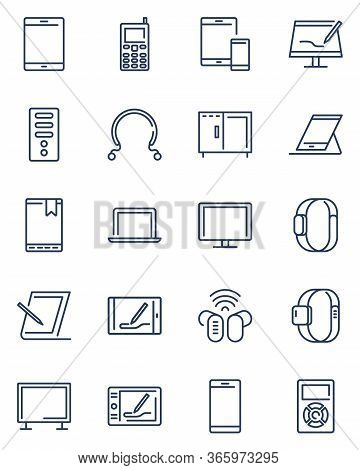Digital Devices Line Icon Set. Computer, Server, Laptop, Tablet, Mobile Phone And Other Electronic E