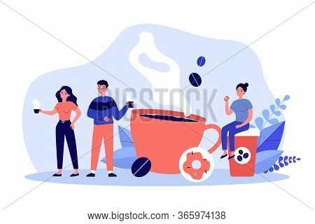 People At Coffee Break Flat Vector Illustration. Tiny Man And Women Relaxing, Talking And Drinking C
