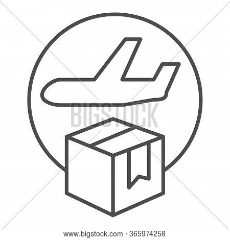 Airmail And Cardboard Package Thin Line Icon, Delivery And Logistic Symbol, Air Freight Carrier With