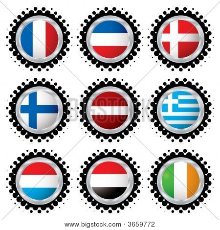 Halftone flag buttons with flags from around the world poster