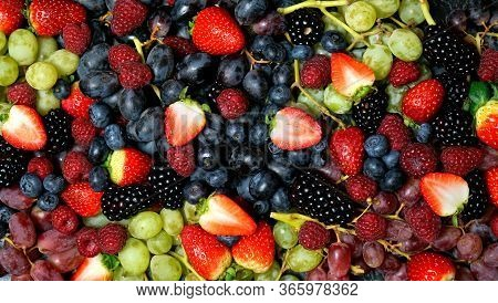 Summer Berries Food Background Full Frame Close Up.