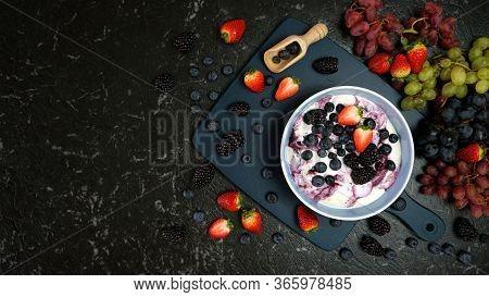 Summer Breakfast With Yoghurt And Berries Creative Flatlay Top View