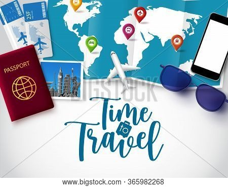 Time To Travel Vector Banner Template. Time To Travel Text In White Space For Messages With Vacation