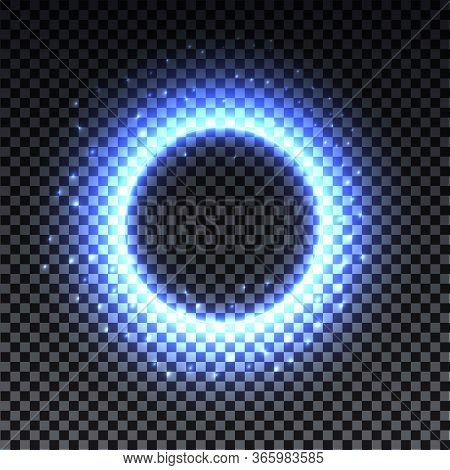 Blue Bright Halo. Abstract Glowing Circles. Light Optical Effect Halo On Transparent Background With