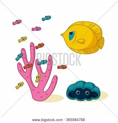 Bluecheeked Butterflyfish On The Tropical Coral Reef. Vector Illustration In Cartoon Style