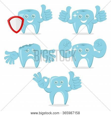 Dental Strong Cartoon Vector Illustration, Dental Icon Isolated On White Background. Dental Icon Tre