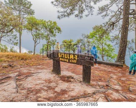 Loei/thailand-17 Feb 2019:unacquainted Tourist On Dang Cliff On Phu Kradueng Mountain National Park