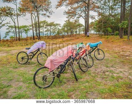 Bicycle On Phu Kradueng Mountain National Park In Loei City Thailand.phu Kradueng Mountain National