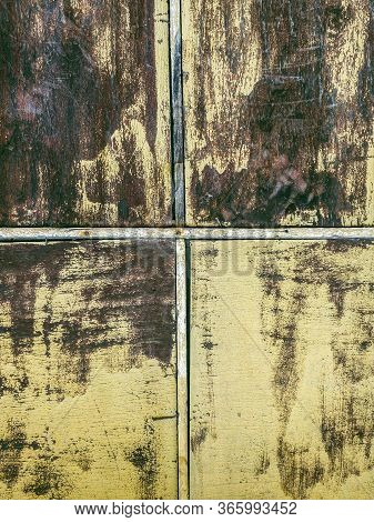 Old Weathered Rustic Window Frame With Peeling Paint. Grunge Background