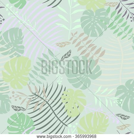 Tropical Swiss Cheese Plant Leaf Seamless Vector Pattern Graphic Floral Fern Leaves Pastel Minimal F