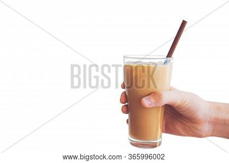 Man Hand Holding The Iced Coffee Isolated On White Background, Cool Coffee In Hand.