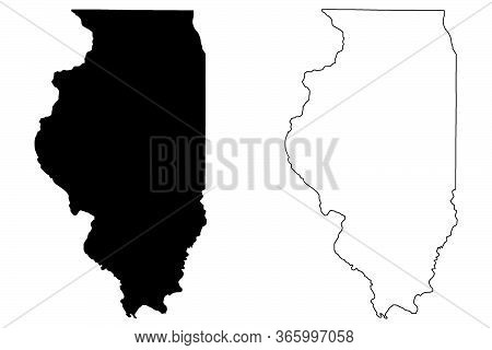 Illinois Il State Maps. Black Silhouette And Outline Isolated On A White Background. Eps Vector