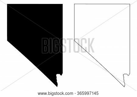 Nevada Nv State Maps. Black Silhouette And Outline Isolated On A White Background. Eps Vector