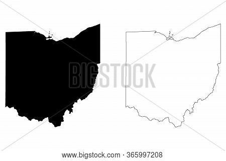 Ohio Oh State Map. Black Silhouette And Outline Isolated On A White Background. Eps Vector