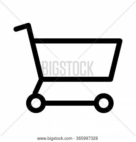 Shopping Cart Trolley Checkout Black And White Outline Icon