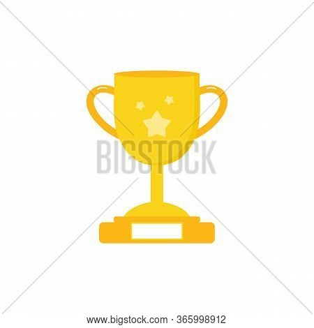 Vector Icon, Illustration Of Golden Trophy Cup With Stars, Prize, Reward.