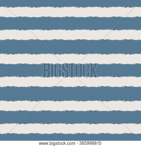 Wide Horizontal Seamless Grunge Brush Striped Pattern. Blue Color Stripes On Light Background. Seaml