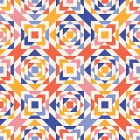 Colorful Vector Geometric Seamless Pattern. Simple Abstract Texture With Triangles, Squares, Diamond