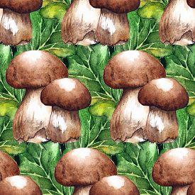 Watercolor White Mushroom Porcini Oak Green Leaf Seamless Pattern Texture Background