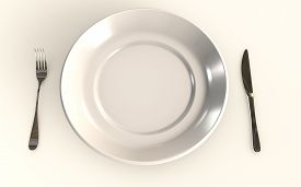 Table Plate Isolated On White Background With A Fork And A Knife 3d Rendered Concept 3d Rendering