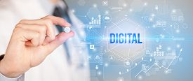 Doctor giving a pill with DIGITAL inscription, new technology solution concept
