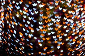 Orange Blue Blur Heart Shape Love Valentine Day Night Light On Tree In Garden