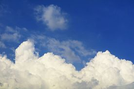 Pure Clear Blue Sky Heap White Cloud And Sunlight Shiny On A Day