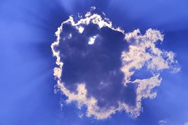 Sun Babk On Cloud And Sunlight Shine And Passing On Purple Blue Sky