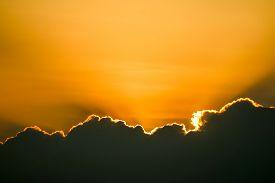 Sunset Sky Back On Dark Silhouette Cloud And Orange Of Sun Ray
