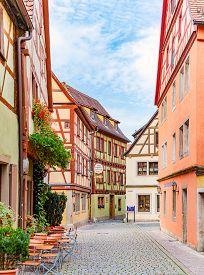 Rothenburg Ob Der Tauber, Germany - September 24, 2014: View On Old Street Of Rothenburg Ob Der Taub