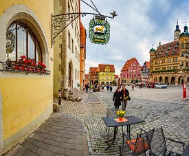 Rothenburg Ob Der Tauber, Germany - September 24, 2014: View On Central City Square With Town Hall O