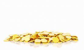 A Lot Of Gold Coins, 3d Golden Finance Cash. Money Jackpot.