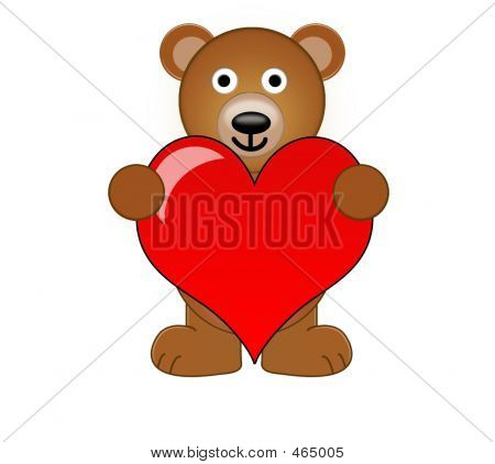 A Teddy Bear Holding A Love Heart