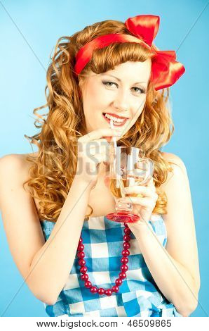 Portrait Coquettish Lovely Redhead Pin-up Girl Drinks A Drink From Tube