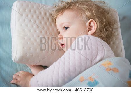Sick And Tired Girl Liying In Bed On Pillow