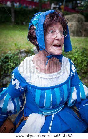 Older Lady In Medieval Costume